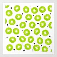 Modern spring green watercolor kiwi fruits pattern  Art Print