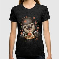 BURGER SLOTH Womens Fitted Tee Tri-Black SMALL
