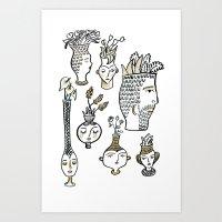 Clay Faces Art Print