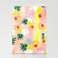 Floral Pineapple Punch Stationery Cards