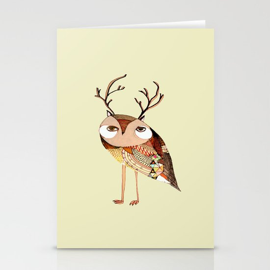 owl print, owl illustration, owl art, owl  Stationery Card