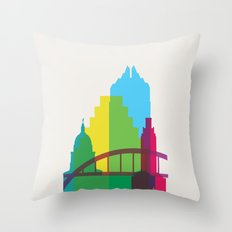 Shapes of Austin. Accurate to scale. Throw Pillow
