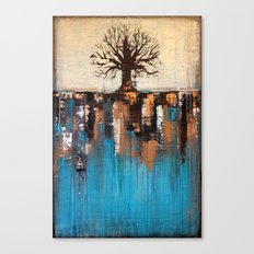 Abstract Tree - Teal and Brown Landscape Painting Canvas Print