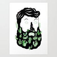 Cactus Beard Dude Art Print