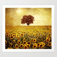Lone Tree & Sunflowers F… Art Print