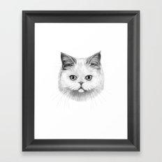 White Cat portrait G130 Framed Art Print
