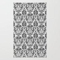 Cat Damask (Black&White) Rug