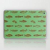 Fishes In Geometrics (Old Green) Laptop & iPad Skin