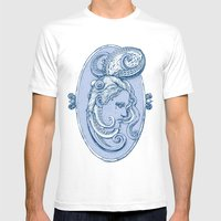 Octopus/girl In Blue Mens Fitted Tee White SMALL