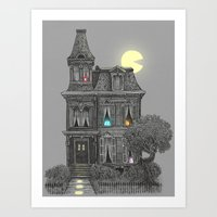 funny Art Prints featuring Haunted by the 80's by Terry Fan