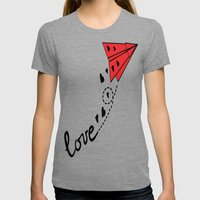 Origami Plane Womens Fitted Tee Tri-Grey SMALL