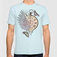 Le Temps Passe Vite (Time Flies) Mens Fitted Tee Light Blue SMALL