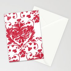 giving hearts giving hope: red damask Stationery Cards