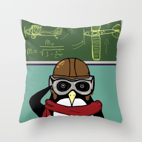 Little Penguin, Big Plans Throw Pillow