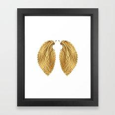 Gold Leaf Wings on White Framed Art Print
