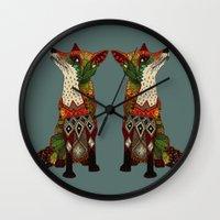 fox love juniper Wall Clock