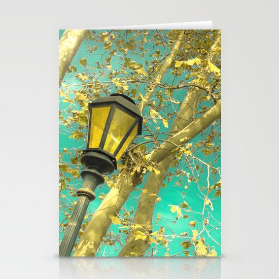 Autumn Gold Leafs in Turquoise Sky  Stationery Card