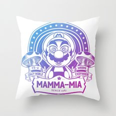 Mamma Mia Super Mario is-a Crazy Throw Pillow