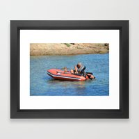 man&dog Framed Art Print