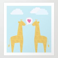 Spotty Giraffe Art Print