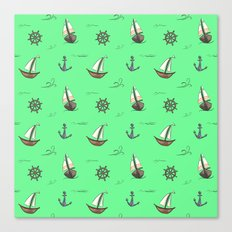 Happy Sailing Pattern with green background Canvas Print
