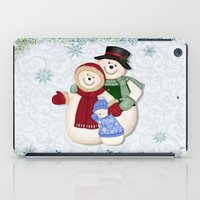 Snowman and Family Glittered iPad Case