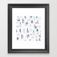 Skiing On The Mountain Framed Art Print