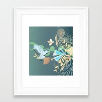 Hummingbird leaf tangle Framed Art Print