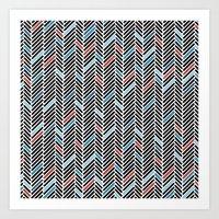 Herringbone Black and Blue #2 Art Print