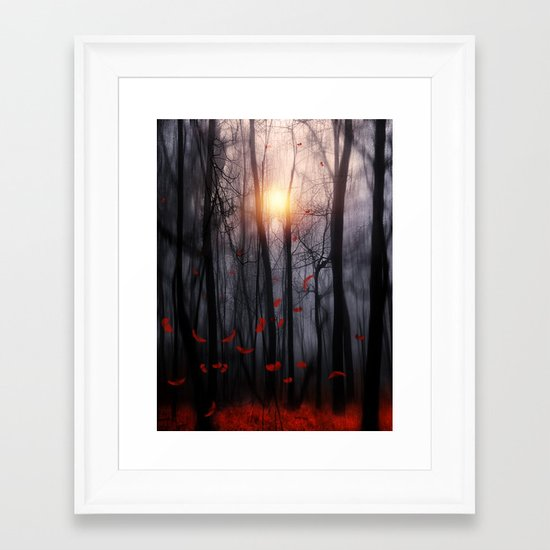 Red feather dance  -  by Viviana Gonzalez Framed Art Print