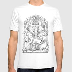 Ganesha Lineart White Mens Fitted Tee SMALL