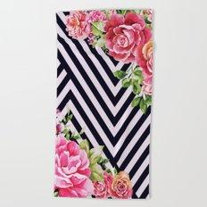 flowers geometric  Beach Towel