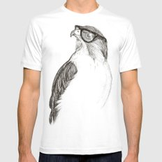 Hawk with Poor Eyesight White Mens Fitted Tee SMALL