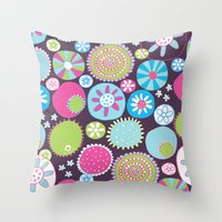 Doodle Flowers2 Throw Pillow