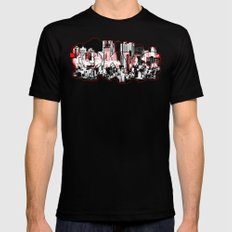 Tokyo skyline with Mount Fuji silhouette Black Mens Fitted Tee SMALL
