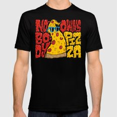 Nobody Owns Pizza! Black Mens Fitted Tee SMALL