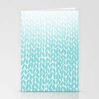 Hand Knitted Ombre Teal Stationery Cards