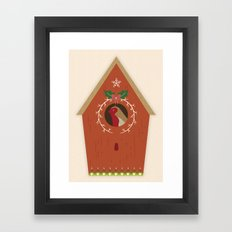 Red Bird House Framed Art Print