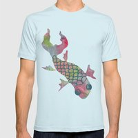 Rainbow Koi Fish Mens Fitted Tee Light Blue SMALL
