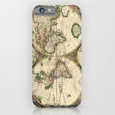 Old map of world hemispheres (enhanced) Slim Case iPhone 6s