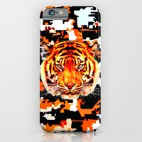 iPhone & iPod Case featuring camouflage tiger on yellow  by seb mcnulty