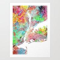 New York map splash painting Art Print