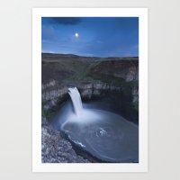 Palouse Falls Moon Art Print