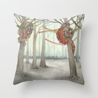 In the Quilted Forest I  Throw Pillow