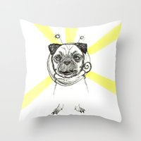 Pug in Space Silly Doodle Throw Pillow
