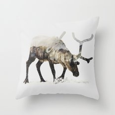 Arctic Reindeer Throw Pillow
