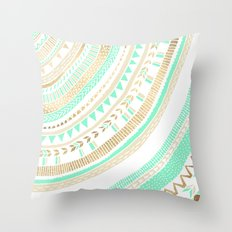Mint + Gold Tribal Throw Pillow
