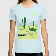 Man & Nature - The Deser… Womens Fitted Tee Light Blue SMALL