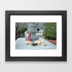 Shattered Travel Gnome Framed Art Print