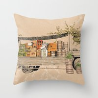 Green Invasion Throw Pillow